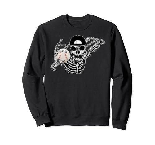 Halloween Skeleton Baseball Player Skull Hands Party Gift  Sweatshirt