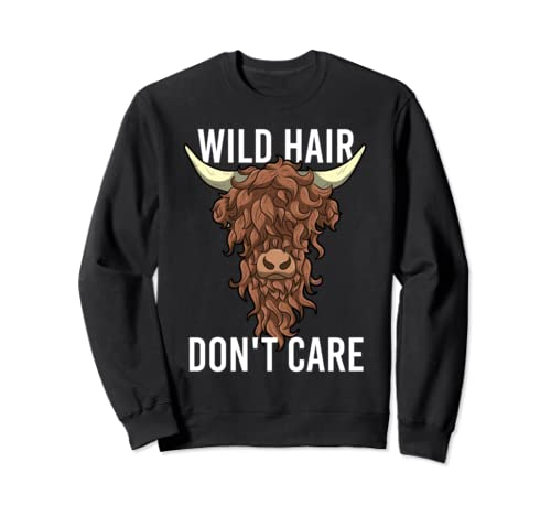 Wild Hair Don't Care Funny Messy Hairstyle Highland Cow Gift Sweatshirt