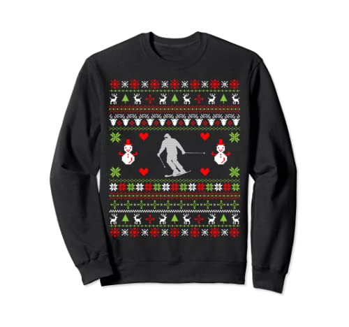 Skiing Christmas Gifts Skiing Ugly Christmas Sweatshirt