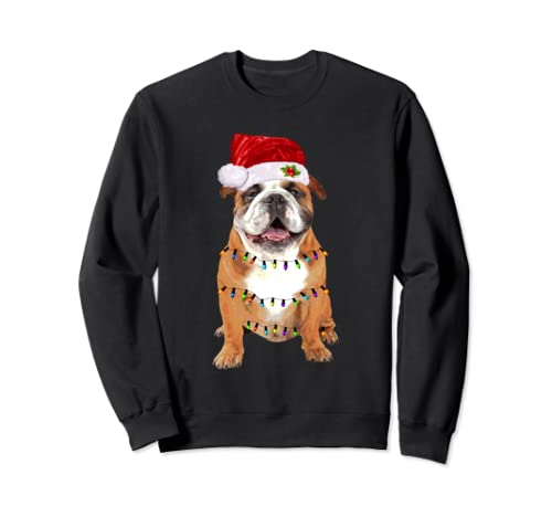 English Bulldog Christmas Lights Funny Lover Christmas Gift Sweatshirt