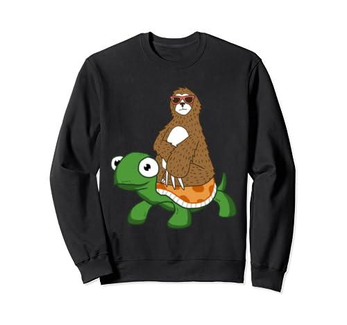 Cool Sloth Wearing Sunglasses Riding A Happy Turtle Sweatshirt