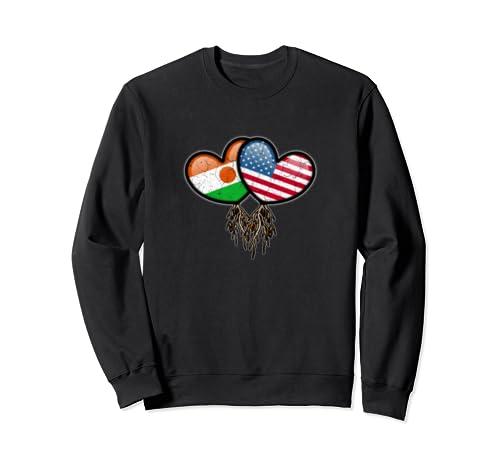 Nigerien American Flags Inside Hearts With Roots Sweatshirt