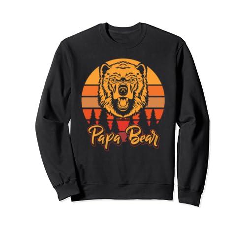 Papa Bear Vintage Daddy Wildling Father's Day Dad Sweatshirt
