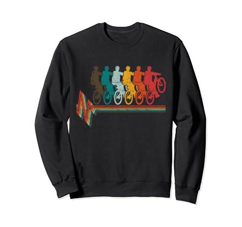 Vintage Downhill Mtb Mountain Bike Heartbeat Gift Idea Sweatshirt