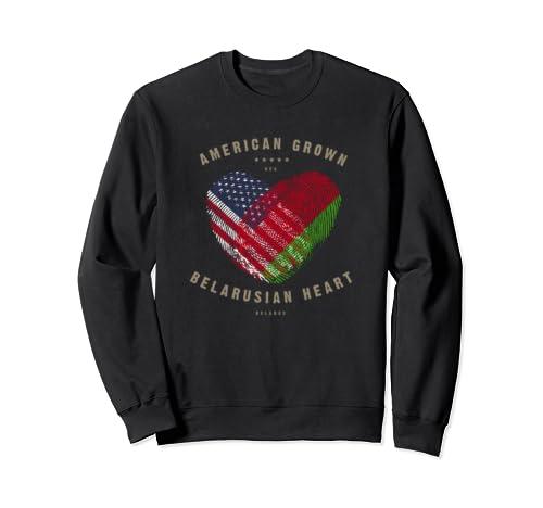 American Grown Belarusian Heart Love Belarus Flag Sweatshirt