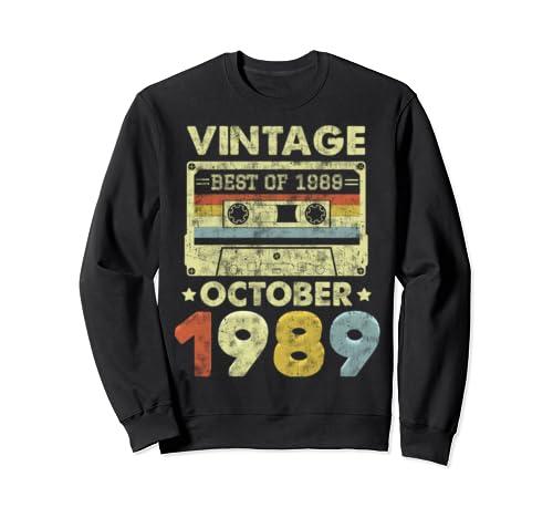 Classic 30th Birthday Gift Men Women Vintage October 1989 Sweatshirt