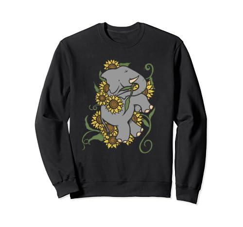 Sunflower Elephant Art Cute  Sweatshirt