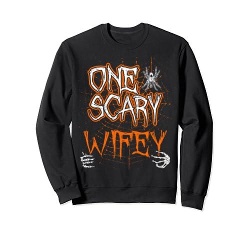 One Scary Wifey Matching Family Halloween Costume Sweatshirt