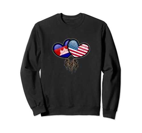 Cambodian American Flags Inside Hearts With Roots Sweatshirt