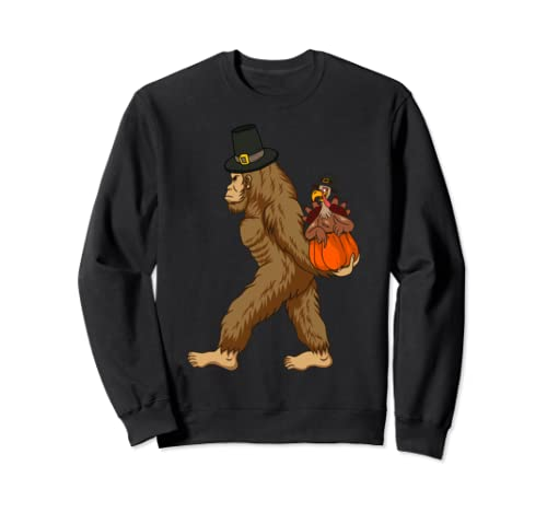 Bigfoot Thanksgiving Sasquatch Turkey Day Boys Girls Gift Sweatshirt