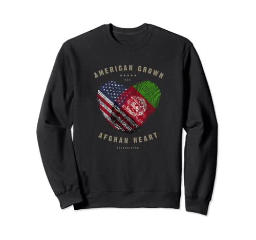 American Grown Afghan Heart Love Afghanistan Flag Sweatshirt