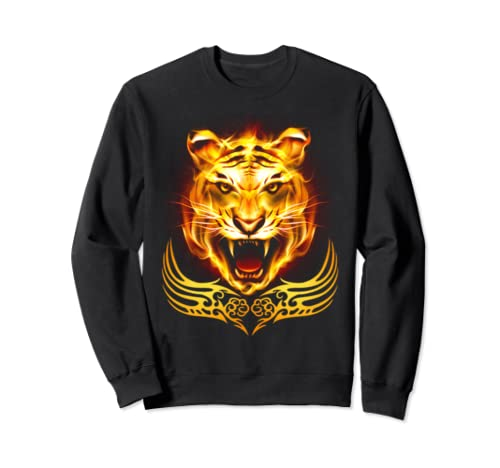 Orange Fire Flaming Tiger Cat Sweatshirt