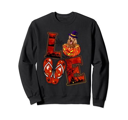 Halloween Love Poodle Flip Flops Pumpkin Funny Costume Sweatshirt