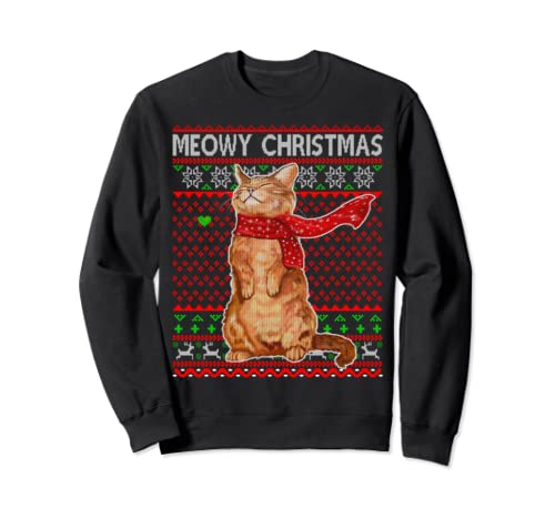 Meowy Christmas Ugly Christmas Cat Sweatshirt