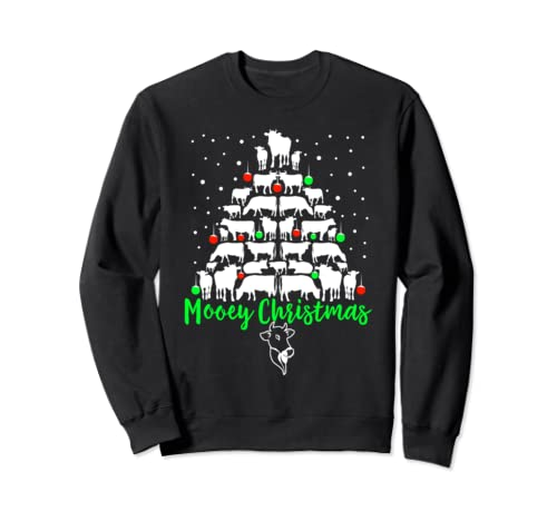 Mooey Christmas Cow Christmas Tree Sweatshirt Cow Lovers