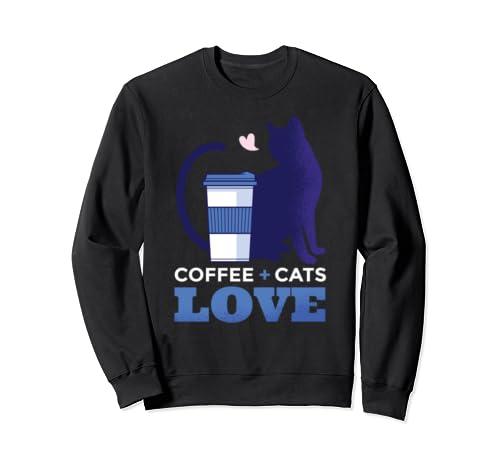 Beautiful Love Coffee + Cats Silhouette Sweatshirt
