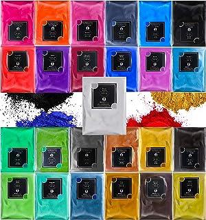 Mica Powder for Epoxy Resin - 25 Colours (0.35oz/10g Ea.) Pearlescent Natural Metallic Cosmetic Grade TECHAROOZ Pigment Po...