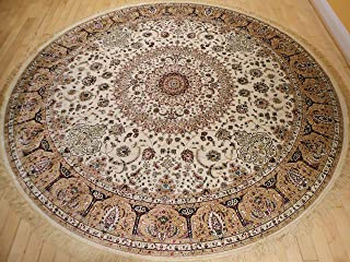 Stunning Silk Rug Persian Traditional Area Rugs Round Shape Living Room Ivory Rugs Luxury 8 Foot Circle Silk Brand High Density Rug Dining Room Rounds Rugs (Round Shape 8 Foot)