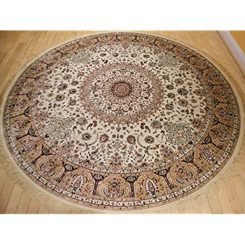 Stunning Silk Rug Persian Traditional Area Rugs Round Shape Living Room Ivory Luxury 8 Foot