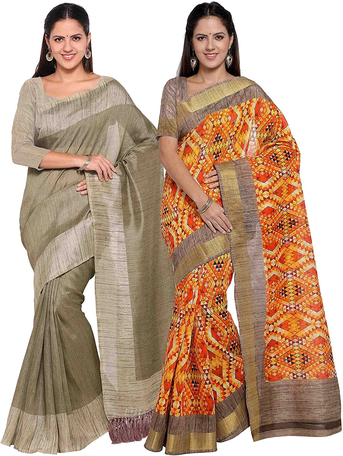 Rajnandini Women's Tussar Silk Printed Saree(JOPLNB3006G8007_Multicolor_Combo Of 2)