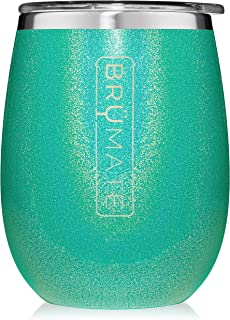 Br�Mate Uncork'd XL 14oz Wine Glass Tumbler With Splash-proof Lid - Made With Vacuum Insulated Stainless Steel (Glitter Peacock)
