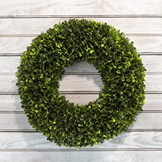 Pure Garden Artificial Tea Leaf Grapevine Base UV Resistant Greenery Half Wreath with Slim Profile for Front Door, Wall Décor, 17.5