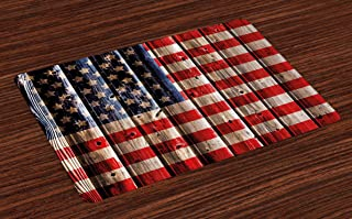 Ambesonne 4th of July Place Mats Set of 4, Rustic Backdrop with American Flag Design Wooden Boards Design, Washable Fabric Placemats for Dining Room Kitchen Table Decor, Vermilion Navy