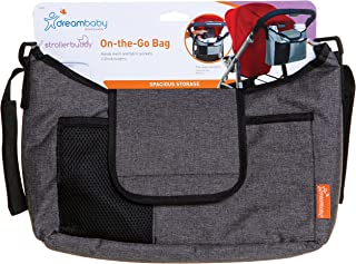 Dreambaby Strollerbuddy On-The-Go Bag (Grey Denim) Organiser for All Strollers, Multiple Pockets,
