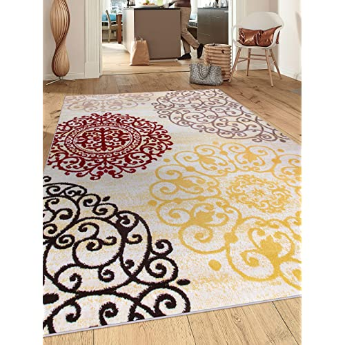 """Rugshop Contemporary Modern Floral Indoor Soft Area Rug, 5'3"""" x 7'"""