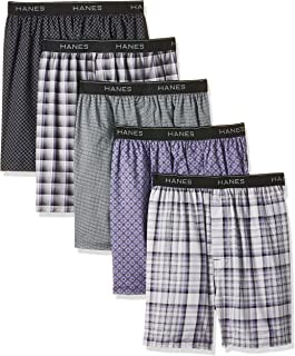 Men's 5-Pack Woven Exposed Waistband Boxers Printed...
