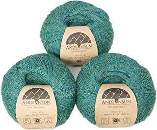 100% Baby Alpaca Yarn (Weight #1) LACE - Set of 3 Skeins 150 Grams Total- Luxurious and Caring Soft for Knitting, Crocheting and Any lace Weight Project – Green Jade Heather