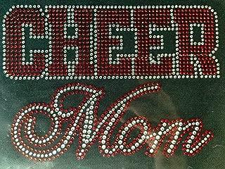 Cheer Mom Text RED Rhinestone Transfer Iron On DIY