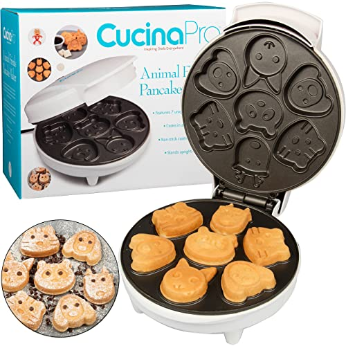 Animal Mini Waffle Maker- Makes 7 Fun, Different Shaped Pancakes - Electric Non-