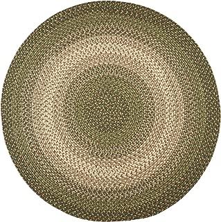 Hartford 6' Round Braided Rug Indoor/Outdoor Rug Kitchen Rugs in Green Sunroom/Porch Carpet