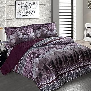 Maii Homelinens Luxury 3D Print Goose Down Alternative Comforter Sheet Set Microfiber Wrinkle,Fade Resistant Egyptian Cotton Quality Ultra Soft 4-Piece Bed Sheet Set Queen (5PC-Set-Wolf-Q)