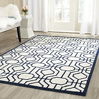 Safavieh Amherst Collection AMT416M Ivory and Navy Indoor/ Outdoor Area Rug (4' x 6')