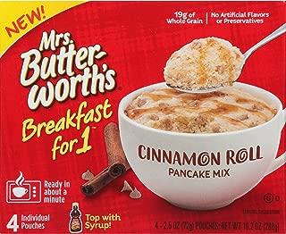 Mrs. Butterworth's Breakfast for 1, Single Serve Pancake Mix, Warm Breakfast in Minutes, Cinnamon Roll, 4 Pouches