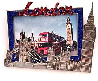 I Love London Photo Frame - Metal Photo Frame - London Souvenir Photo Frame - London Icons Metal Photo Frame - Big Ben, Tower Bridge London Eye - Medium Size