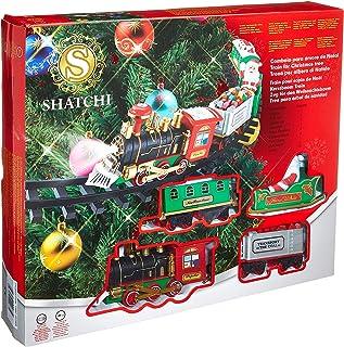 SHATCHI Juego de Tren de Navidad Alrededor del árbol de Navidad decoración del hogar Festivo luz Sonido de luz, Talla única