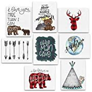 8 Piece Woodland Animal Adventure Nursery Prints - 8x10  Explore, Teepee, Little Man Cave, Bear, Buffalo Plaid Deer, Arrows, Let Him Sleep, Be Brave