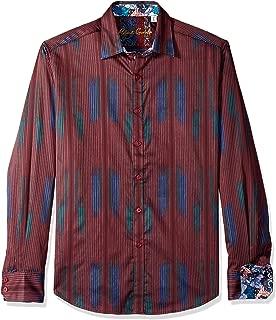 Robert Graham Men's Rahman Long Sleeve Classic FIT Shirt, Burgundy, 3XLARGE