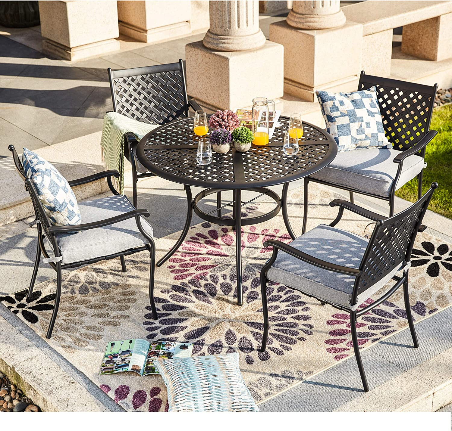 LOKATSE HOME 100 Piece Outdoor Patio Metal Dining Set with 100 Outdoor Iron Arm  Dining Chairs with Seat Cushions and 10 Outdoor Dining Table with Umbrella  ...