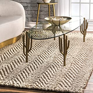 nuLOOM Chevron Jute Rug, 5' x 8', Off White