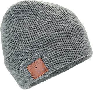 Tenergy Wireless Bluetooth Beanie Hat with Detachable Stereo Speakers & Microphone, Fleece-Lined Unisex Music Beanie for Outdoor Sports, Basic Knit (Grey)