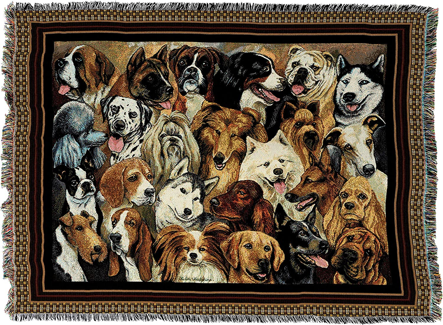 PCI 1660T Mans Best Friend Tapestry Throw, 53 by 70Inch, Various Blended colorways