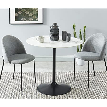 BAÏTA Monika Table de séjour, Verre trempé, décor marbre, D90cm