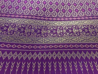 Amornphan 44 Inches Purple and Gold Traditional Thai Silk Damask Fabric for Wedding Dress Skirt by The Yard