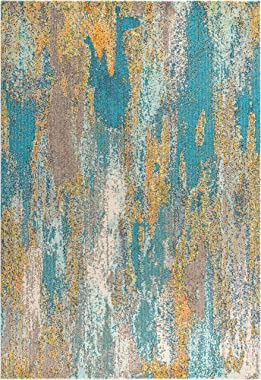 JONATHAN Y CTP106A-8 Contemporary POP Modern Abstract Vintage Waterfall Blue/Brown/Orange 8 ft. x 10 ft. Area Rug, Bohemian,EasyCleaning,ForBedroom,Kitchen,LivingRoom, Non Shedding