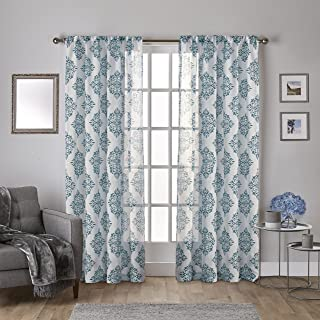 Exclusive Home Curtains Nagano Sheer Rod Pocket Top Panel Pair, Teal, 54x108, 2 Piece