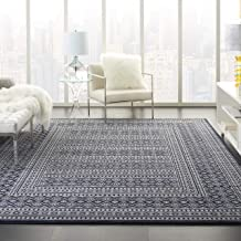 Nourison Royal Moroccan Distressed Bohemian Navy/Grey 8' x 10' Area Rug (8'x10'), NAVGY